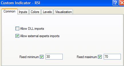 RSI indikatoriaus nustatymai